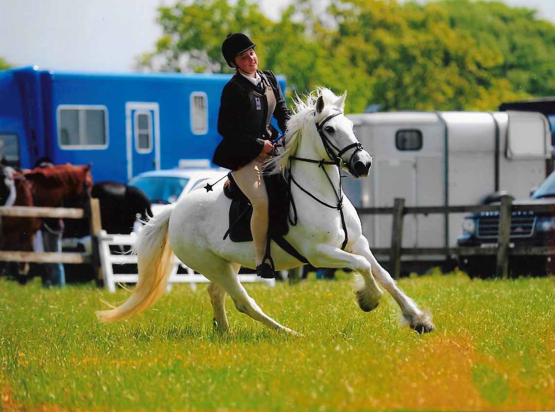 Showjumping. A girl cantering a grey fell pony around a corner during a showjumping competition.