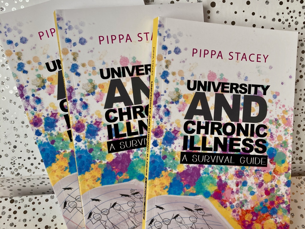 A fan of three books titled University and chronic Illness, a survival guide, by Pippa Stacey